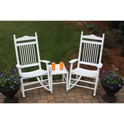 Dixie Seating 3 Piece Adult Rocking Chair & Table Set; White