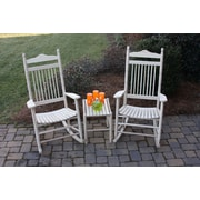 Dixie Seating 3 Piece Adult Rocking Chair & Table Set; Unfinished