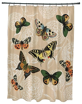 August Grove Swan Valley Antique Butterflies Shower Curtain; Taupe