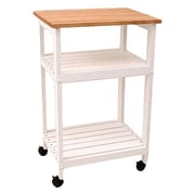 August Grove Allie Microwave Kitchen Cart w/ Butcher Block Top; White