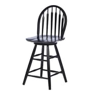 August Grove Imogene 24'' Swivel Bar Stool; Black