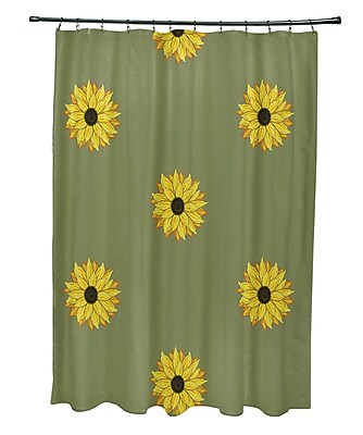 August Grove Vieux Sunflower Frenzy Flower Print Shower Curtain; Green