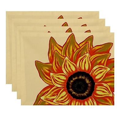 August Grove Essonne El Girasol Feliz Floral Print Placemat; Gold