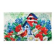 August Grove Ferrand Patriotic Birdhouse and Cardinal Embossed Doormat