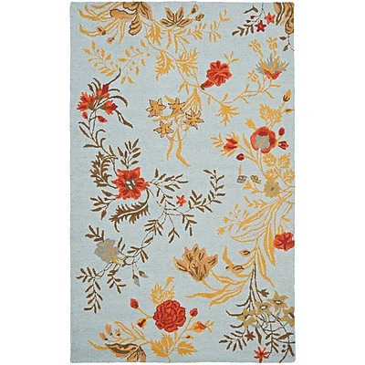 August Grove Ginger Blue Area Rug; Rectangle 5' x 8'