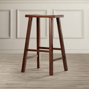 August Grove Imogene 29'' Bar Stool; Distressed Walnut