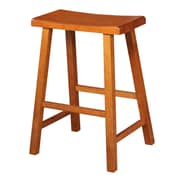 August Grove Imogene 24'' Bar Stool; Distressed Rustic Oak
