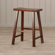August Grove Imogene 24'' Bar Stool; Walnut