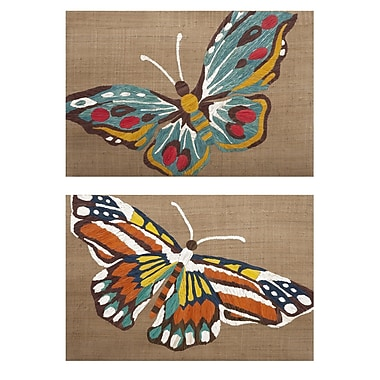 August Grove Embroidered Butterfly 2 Piece Painting Set