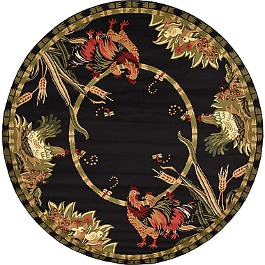 August Grove Andersonville Black Area Rug; Round 8'