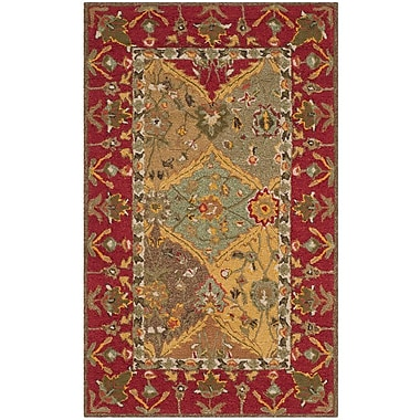 August Grove Talmo Hand-Hooked Red/Brown Area Rug; 4' x 6'