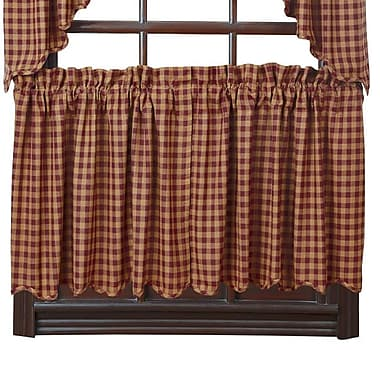 August Grove Addie Scalloped Tier Curtain (Set of 2); Navy