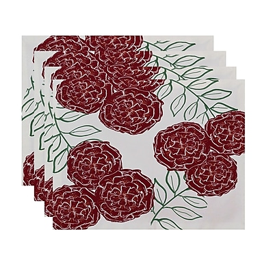 August Grove Airelle Floral Placemat (Set of 4); Brick