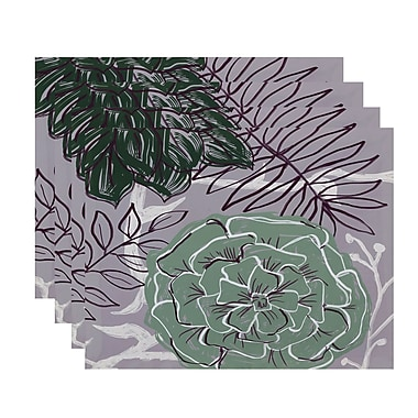 August Grove Marshallville Flowers and Fronds Floral Placemat (Set of 4); Pale celery