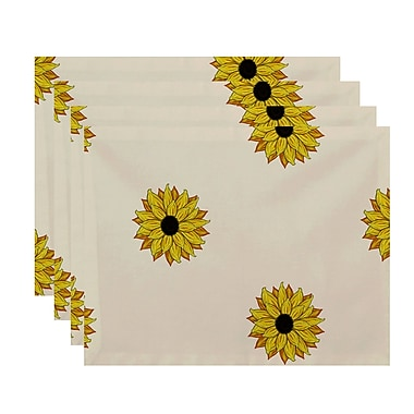 August Grove Diamondville Sunflower Frenzy Floral Print Placemat; Yellow