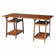 August Grove Lucie Solid Wood Trestle Writing Desk; Espresso