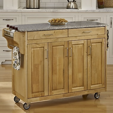 August Grove Regiene Kitchen Island w/ Granite Top; Natural