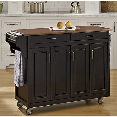 August Grove Regiene Kitchen Island; Black