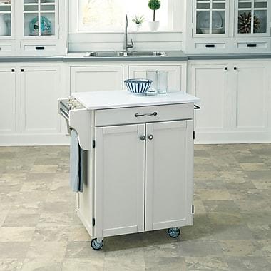 August Grove Savorey Kitchen Cart w/ Quartz Top; Off-White