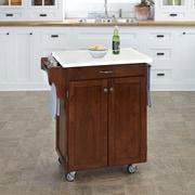August Grove Savorey Kitchen Cart w/ Quartz Top; Cherry