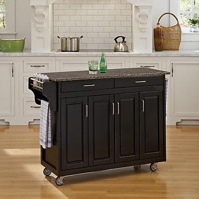 August Grove Regiene Kitchen Cart w/ Quartz Top; Black