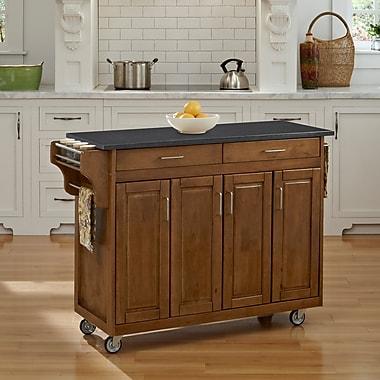 August Grove Regiene Kitchen Cart w/ Quartz Top; Oak