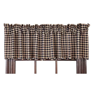 August Grove Addie Scalloped Curtain Valance; Navy