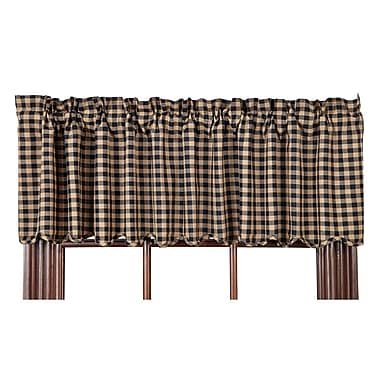 August Grove Addie Scalloped Curtain Valance; Black