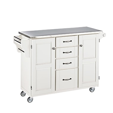 August Grove Adelle-a-Cart Kitchen Island w/ Stainless Steel Top; White