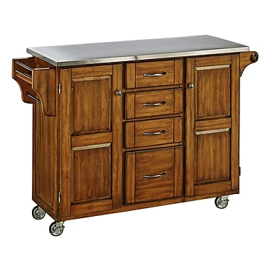 August Grove Adelle-a-Cart Kitchen Island w/ Stainless Steel Top; Oak
