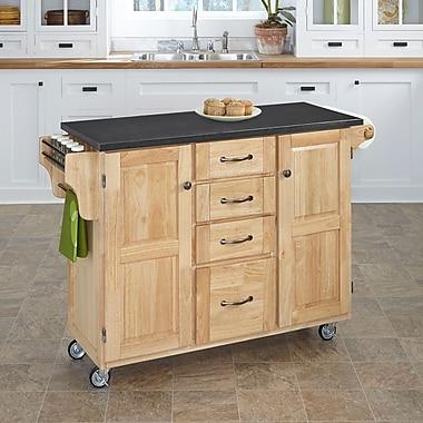 August Grove Adelle Kitchen Cart w/ Quartz Top; Natural