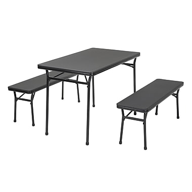 COSCO – Table intérieure/extérieure en 3 morceaux, ensemble de 2 bancs, noir