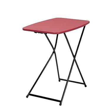 COSCO Indoor Outdoor Adjustable Height Personal Folding Table, Red, 2/Pack