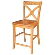 August Grove Laurier 24'' Bar Stool; Aged Cherry
