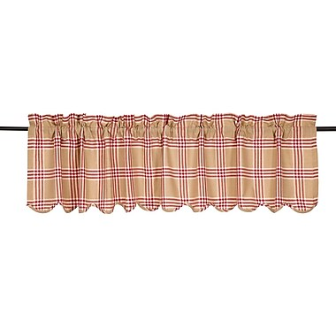 August Grove Imogene Scalloped Curtain Valance; Red