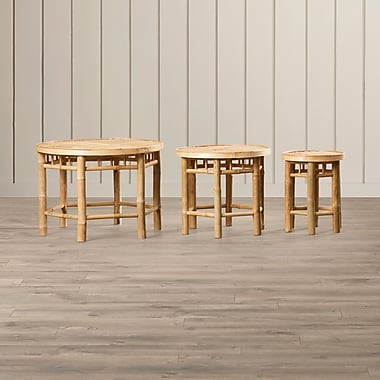 Bay Isle Home Porter Natural Bamboo 3 Piece Nesting Accent Stool Set