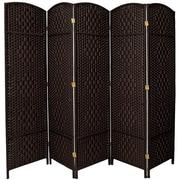 Bay Isle Home Anthurium 71''x 80'' Tall Diamond Weave Fiber 5 Panel Room Divider; Black