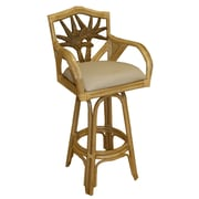 Bay Isle Home Cypress 24'' Swivel Bar Stool; Palm Patch Champagne