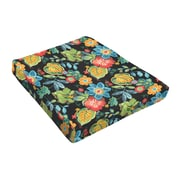 Bay Isle Home Floral Outdoor Dining Chair Cushion; Black