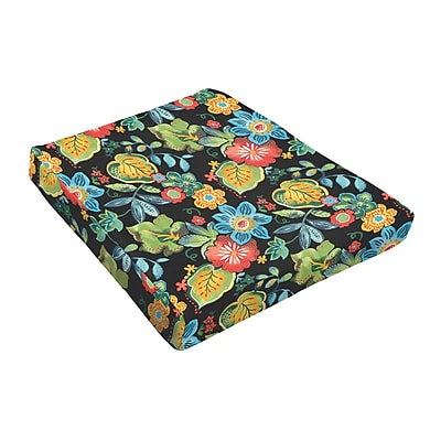 Bay Isle Home Floral Outdoor Dining Chair Cushion (Set of 2); Black