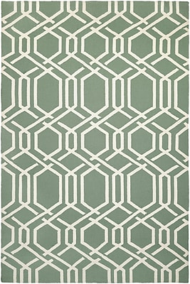 Bay Isle Home Wallingford Ariatta Sea Mist Hand-Woven Green/Beige Indoor/Outdoor Area Rug