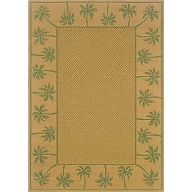 Bay Isle Home Goldenrod Beige/Green Indoor/Outdoor Area Rug; 7'3'' x 10'6''
