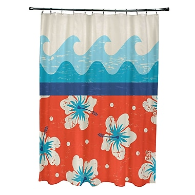 Bay Isle Home Pembrook Polyester Floral Shower Curtain; Orange
