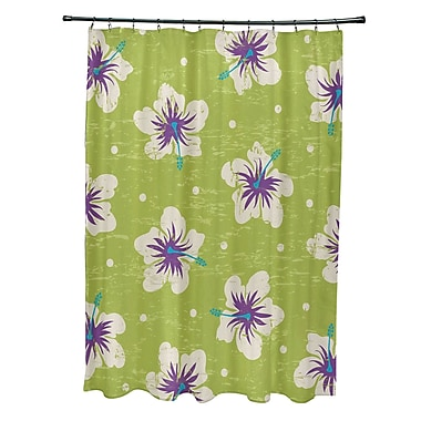 Bay Isle Home Pembrook Polyester Hibiscus Blooms Floral Shower Curtain; Light Green