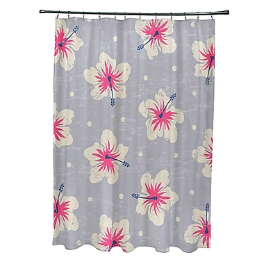 Bay Isle Home Pembrook Polyester Hibiscus Blooms Floral Shower Curtain; Gray