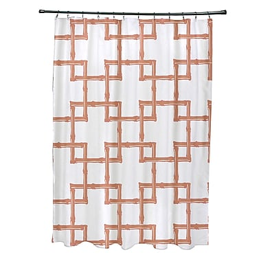 Bay Isle Home Connelly Polyester Bamboo 2 Geometric Shower Curtain; Coral