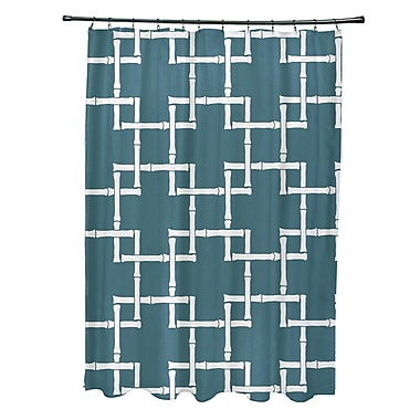 Bay Isle Home Connelly Polyester Bamboo 1 Geometric Shower Curtain; Teal