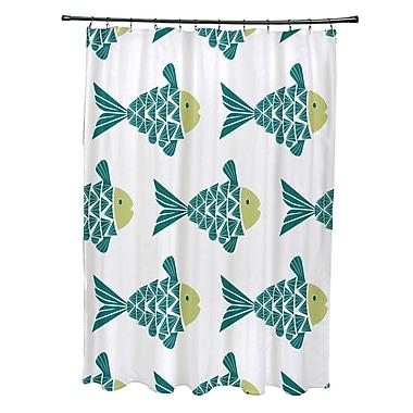 Bay Isle Home Grand Ridge Polyester Fish Tales Coastal Shower Curtain; Teal