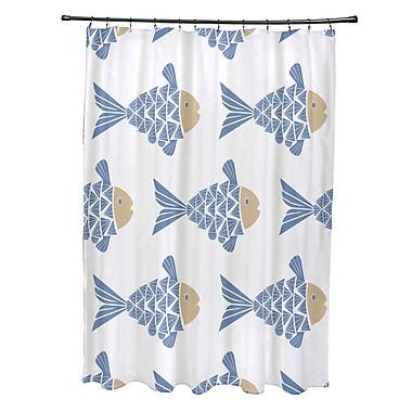 Bay Isle Home Grand Ridge Polyester Fish Tales Coastal Shower Curtain; Blue