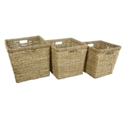 Bay Isle Home Eco-Friendly 3 Piece Hand Woven Rush Grass Basket Bin Set